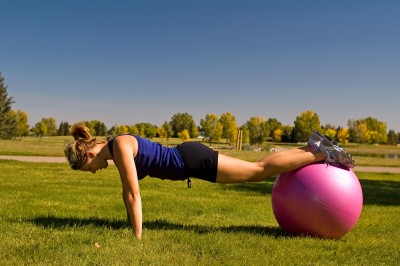 10 minute workout- push up with a ball