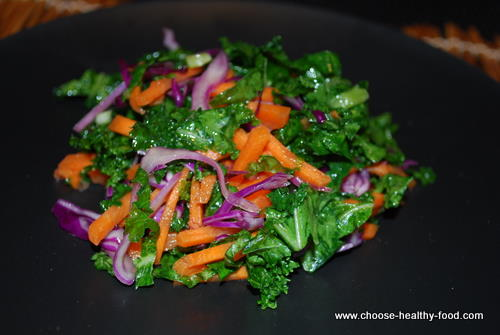 Marinated kale and red cabbage salad