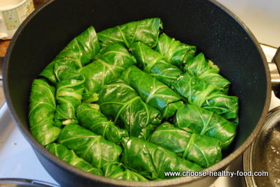 cooking collard greens rolls