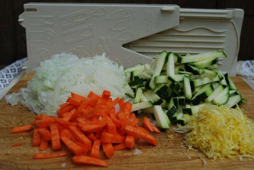 chick pea stew - sliced vegetables