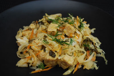 Pickled fried cabbage recipe with tempeh