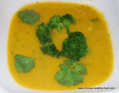 low fat vegan sweet potato broccoli soup