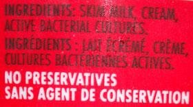 healthy yogurt nutritional label
